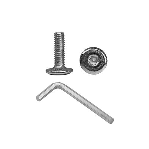 Lote de 250 tornillos de unión de acero galvanizado M6 x 20 mm, para muebles, tornillos hexagonales Allen, JCB tornillos totalmente roscados (250, M6 x 20 mm)