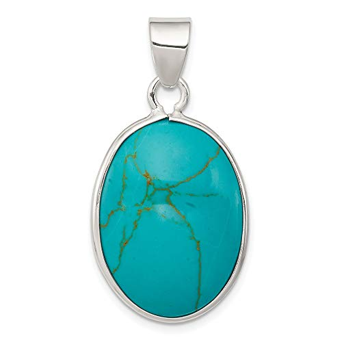 925 Sterling Silver Oval Blue Turquoise Pendant Charm Necklace Natural Stone Fine Jewelry For Women Gifts For Her