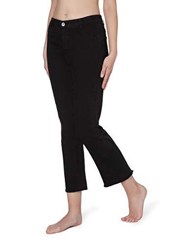Calzedonia Damen Cropped-Flare-Jeans mit Reißverschluss und Taschen