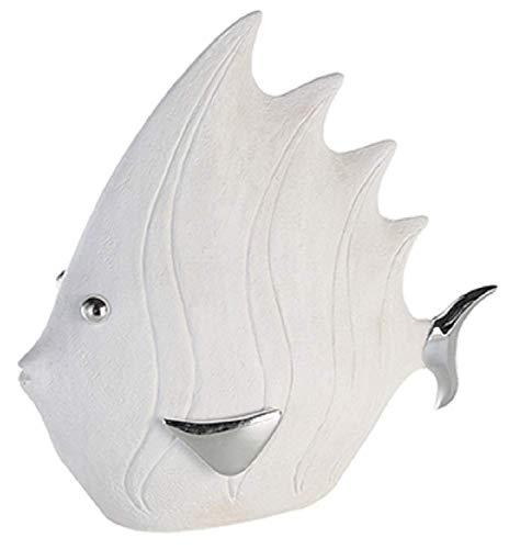Casablanca Deko Fisch in Stein-Optik, 36x 33cm, weiß/Silber