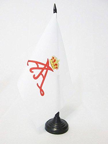 AZ FLAG Drapeau de Table Etendard du Prince Albert II de Monaco 21x14cm - Petit Drapeaux DE Bureau principauté monégasque 14 x 21 cm