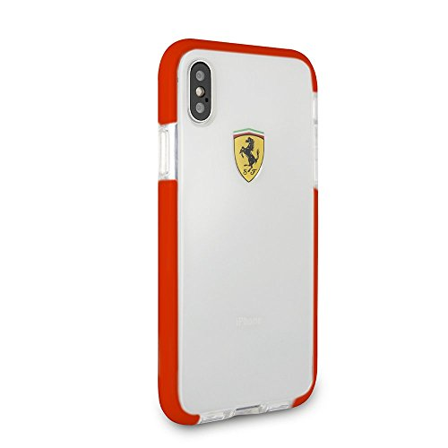 CG Mobile Ferrari Phone Case for iPhone X and iPhone Xs Hard Case PC/TPU On Track Collection with Racing Shield Design Red Easy Snap-on Shock Absorption Cover Officially Licensed.