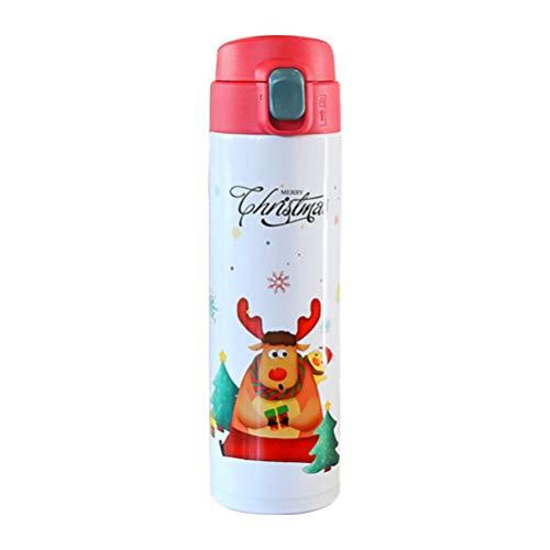 Garrafa de água Amosfun de Natal isolada à vácuo com rena, copo térmico de água à vácuo para meninos e meninas 450 ml (branca)