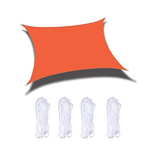 Parasol de jardín de 3 x 3 m, protección solar de seguridad, varios tamaños con cuerda de sujeción, sin sabor, para terraza, patio, patio, jardín, actividades de césped, color naranja