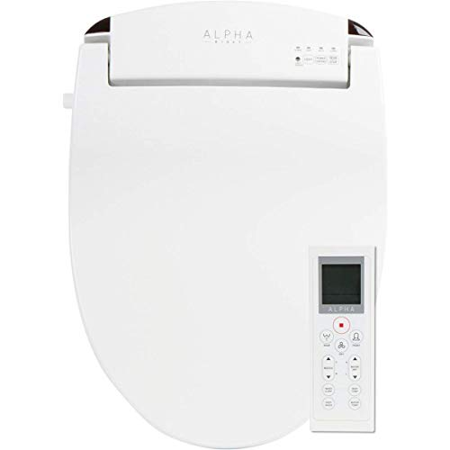 ALPHA JX Elongated Bidet Toilet Seat, White, Endless Warm Water, Rear and Front Wash, LED Light, Quiet Operation, Easy Wireless Remote Control, Low Profile Sittable Lid, 3 Year Warranty (Elongated)