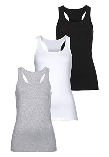 MONYRAY 3er Pack Cotton Essentials Damen Unterhemd Basic Tank Top Racerback(schwarz/weiß/grau, XXL)
