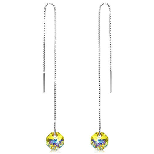 NINASUN Women Gifts Threader Earrings 925 Sterling Silver Drop Dangle Earring for Girls Birthday Swarovski Crystal Fine Jewelry for Her on Anniversary Wife Sister Gifts from for Christmas Daughter Mom