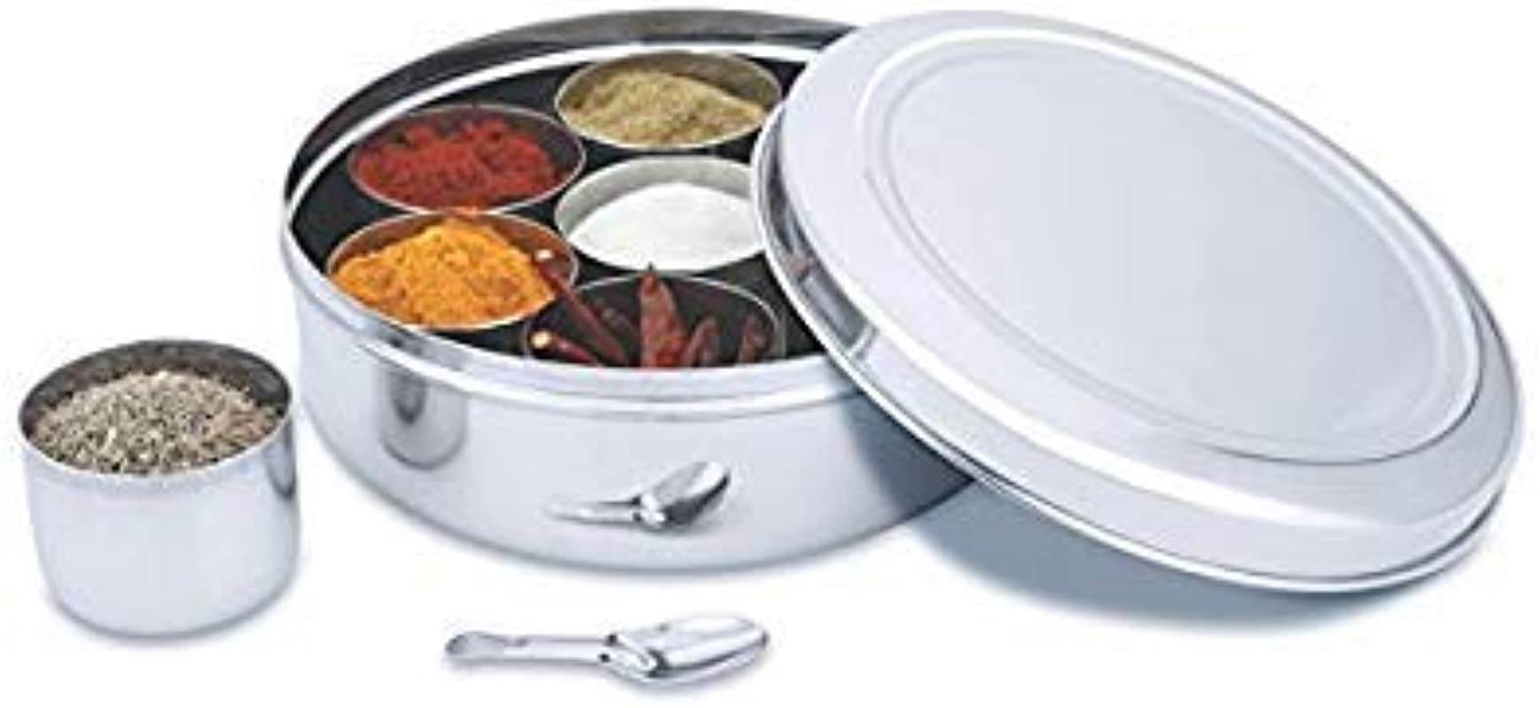 Starnk Steel Plain Spice Container Masala Dabba 7 Compartments Airtight Inner Lid Spice Storage Herbs Storage 8 Inch