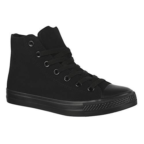 Elara Unisex Sneaker Sportschuhe High Top Turnschuh Chunkyrayan P ZY9031 Allblack-46