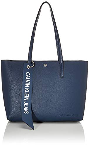 Calvin Klein Damen Ckj Banner Ew Shopper Tote, Blau (Washed Blue), 12.5x29.5x41.5 centimeters