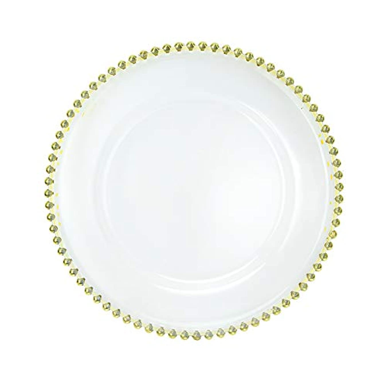 Elegant Clear Acrylic Charger Plate with Bead Rim, Set of 12 (Gold/Silver, 12.5 inch) (Gold)