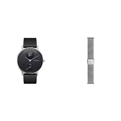 Withings Steel HR Hybrid Smartwatch - Fitnessuhr mit Herzfrequenz und Aktivitätsmessung, 36mm - Schwarz001, Schwarz Silikonarmband & Mailänder Armband, Silber