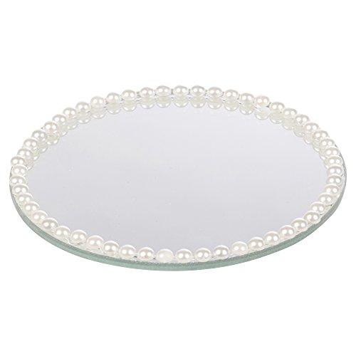 EG Homeware Runde Spiegelteller mit Strasssteinen und Perlen, in 3 Größen erhältlich, Perle, Small - 10cm