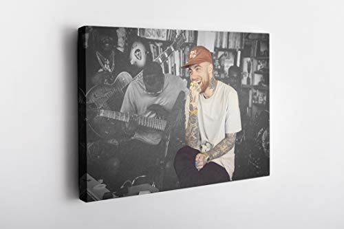MW MERWEZI Mac Miller Poster American Rapper Canvas Wall Art Home Decor Framed Art (36'x24', Stretched on Wood)