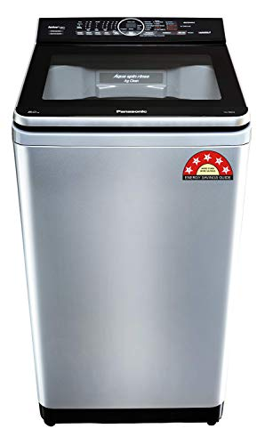 Panasonic Econavi 8 Kg 5 Star Built-In Heater Fully-Automatic Top Loading Washing Machine (NA-F80V9LRB, Silver, Stain Master+)