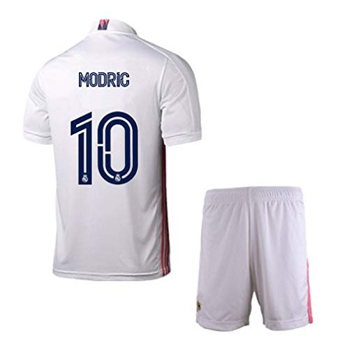 BNHG 2020/2021 Home New Soccer T-Shirts #10 Modric Kids/Youths Jersey & Shorts Color White 8-9years