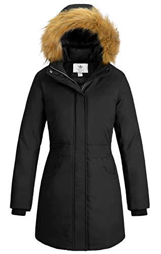 WenVen Women's Long Mid-Length Winter Coats Parka Jacket (Black, L)