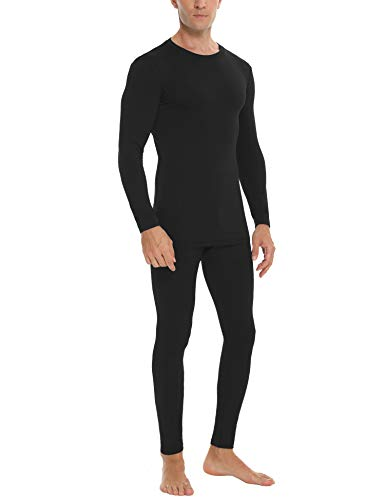 Daupanzees Mens Thermal Underwear Set Skiing Winter Warm Base Layers Tight Long Johns Top and Bottom Set with Fleece Lined Black