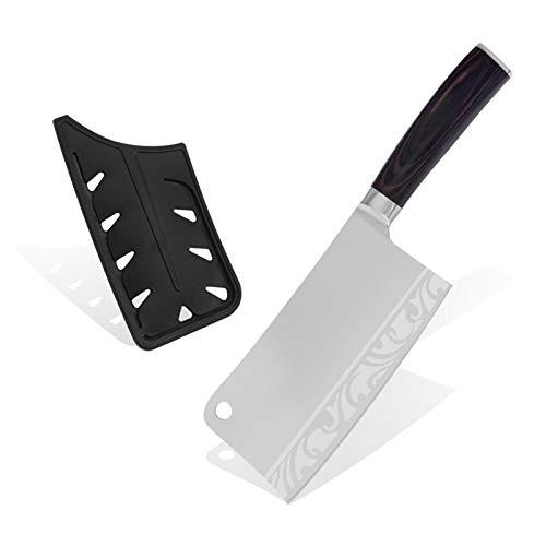 Cleaver de carne de acero inoxidable Cleaza de madera de cuchilla de alta calidad Cleaza de cuchara Cuchillo de cocina profesional (Color : Pattern 2)