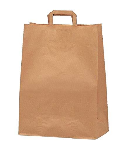 Yearol K09 25 Bolsas papel kraft pequeñas con asa. 24 * 8 * 18 Especial para regalos, comunion, eventos, cumpleaños, comercio, compra, venta, embalaje, transporte. Base plana.