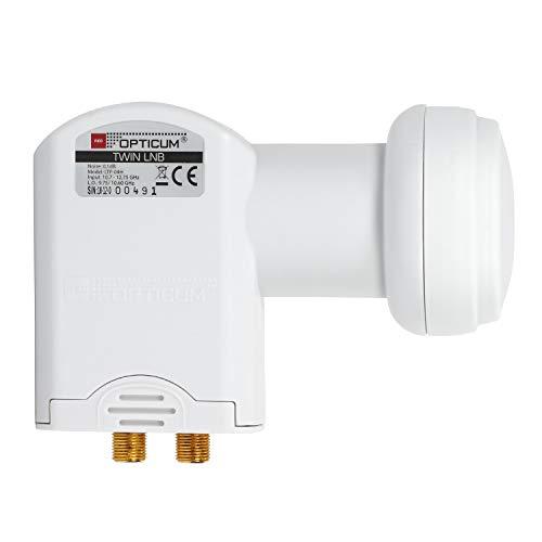 RED OPTICUM LTP 04H Twin LNB I LNB digitale resistente al calore e al freddo a 2 vie con solo 0,1 dB Figura di rumore e protezione dalle intemperie estendibile I Full HD - 3D - UHD - 4K Ready