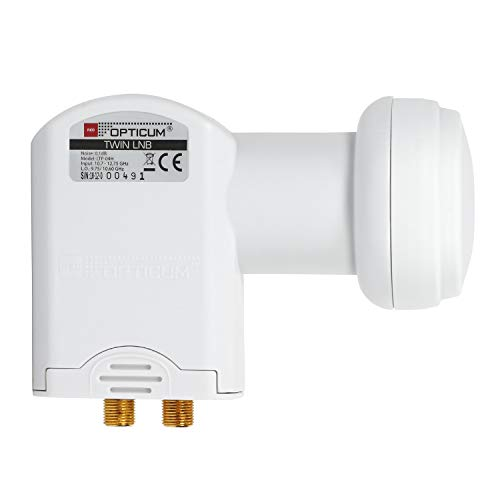 RED OPTICUM LTP 04H Twin LNB I LNB digitale resistente al calore e al freddo a 2 vie con solo 0,1 dB Figura di rumore e protezione dalle intemperie estendibile I Full HD - 3D - UHD - 4K Ready