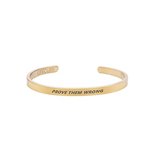 Prove Them Wrong I Bangle with Engraving I Silver, Gold, Rose Gold I Women - Men - Children - Unisex I Stainless Steel 16 centimeters gold