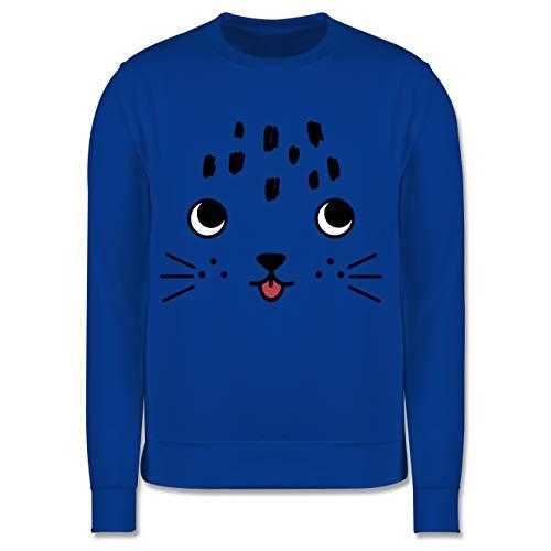 Shirtracer Tiermotive Kind - Katze mit ausgestreckter Zunge - 152 (12/13 Jahre) - Royalblau - Geschenk - JH030K - Kinder Pullover