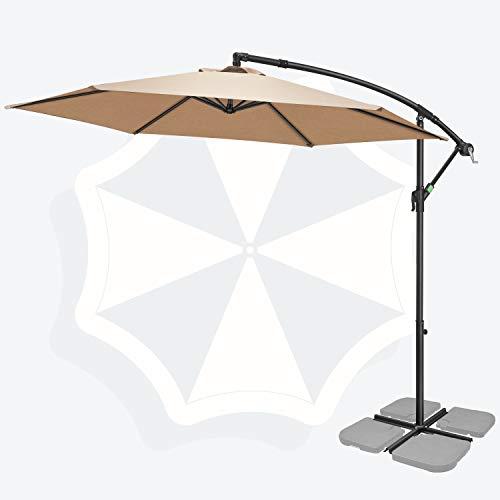 FRUITEAM 10FT Patio Offset Umbrella Cantilever Umbrella, Large Hanging Market Umbrella Large with Crank & Cross Base, Waterproof UV Protection Outdoor Umbrella with Ventilation for Backyard/Garden