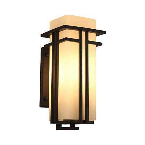 ZLX IP54 Lámpara de pared de vidrio impermeable Luz cálida Exterior Metal Lámpara de pared de hierro forjado Puerta de patio Balcón Puerta E27 Focos de pared Edison (Tamaño: Alto 31CM)