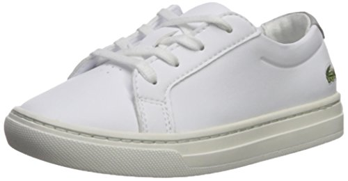 Lacoste Kids' L.12.12 Sneakers,White/Silver leather,5. M US Toddler