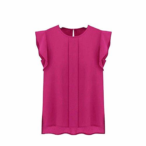 Camisetas Sin Mangas Mujer SHOBDW Verano Playa Mar Sexy Cuello Redondo Blusa Corta Informal Casual Suelto Gasa Volante Fruncido Sólido Puro Camisas De Chaleco para Mujer(Rosa,M)