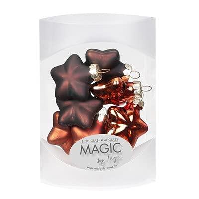 Shiny Chestnut - Bolas de Navidad (cristal, 4 cm, 8 unidades), diseño de estrellas, color marrón y naranja