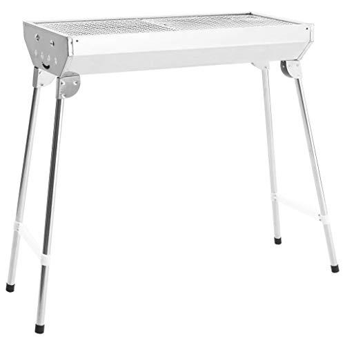 Estink - Barbacoa plegable portátil, de acero inoxidable, 2 parrillas de cocción, con patas estables, para picnic al aire libre, camping, 68,5 x 30 x 70 cm