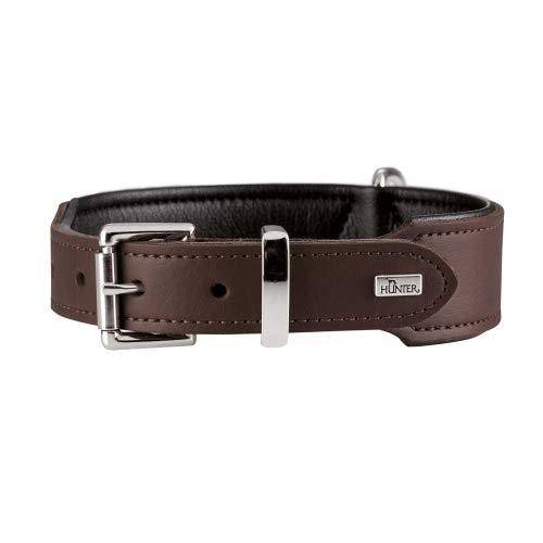 HUNTER BASIC Hundehalsband, beschichtetes Spaltleder, Kunstleder, schlicht, robust, witterungsbeständig, 55 (M), braun