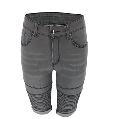 Qinvern Pantalones Bermudas para Mujer Dobladillo elástico doblado Vaquero Desgastado Deshilachado Vaquero Lavado Empalme Relajado XXL