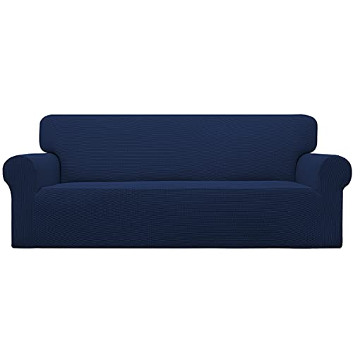 Easy-Going Stretch Sofa Slipcover 1-Piece Sofa Cover Furniture Protector Couch Soft with Elastic Bottom for Kids,Polyester Spandex Jacquard Fabric Small Checks(Oversized Sofa,Navy)