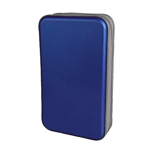 Allwiner Bolsa de CD CD Holder Caja de la Carpeta de DVD DVD Carpeta del Organizador del almacenaje de plástico Duro 80 Capacidad portátil Azul, Caja de Discos