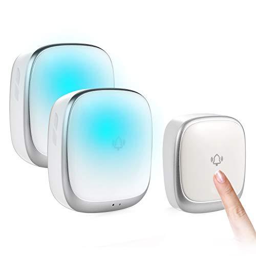 ワイヤレスチャイム 玄関ドアベル 電池不要 自動発電 音と光で呼び出し 7色提示led 防水防塵 4段階音量調節 介護 飲食店 玄関 浴室などに適用 最大200M無線範囲 送信機1 受信機2