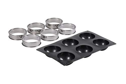 patisse 72141 Kit TARTELETTES Rondes Demi-Spheres, Silicone, Noir, 33 x 18 x 3 cm