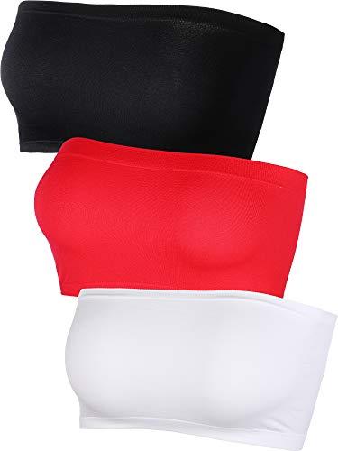 Banda de Sujetador sin Tirantes de Mujeres Tubo de Sujetador sin Almohadilla Elástico en Multicolor, 3 Piezas