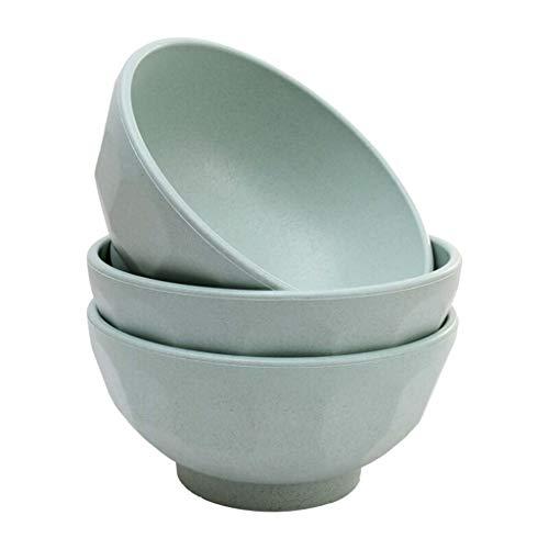ZH Bol à céréales/à soupe/nouilles Paille de blé nordique Protection de l'environnement Anti-ébouillantage Anti-chute 3 paquets Vert 15,5 * 7,5 cm