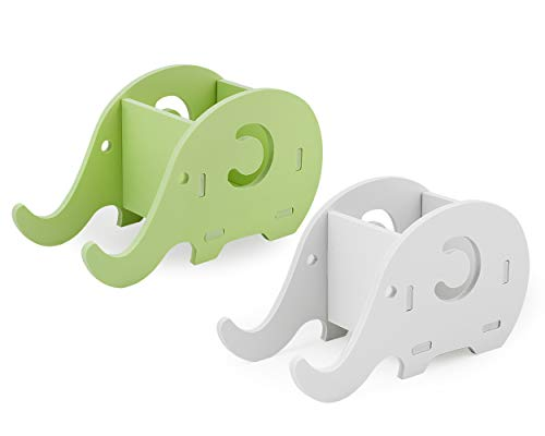 DS. DISTINCTIVE STYLE Pencil Holder with Cell Phone Stand 2 Pieces Elephant Shaped Pen Bracket Cell Phone Holder Desk Organizer for Office or Home Decoration - Green and White