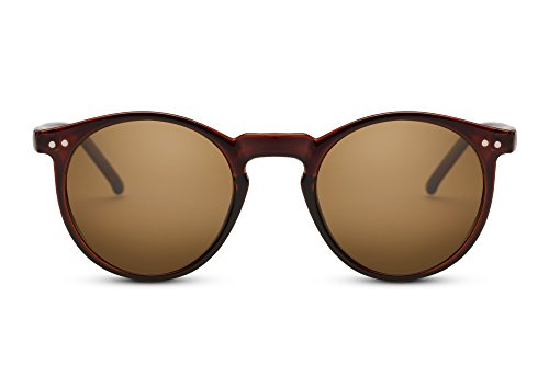 Cheapass Sonnenbrille Braun Runde Brille UV-400 Festival-Accessoire Retro Plastik Damen Herren