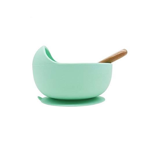 Zfwlkj Vajilla Infantil Los Platos de los niños de Silicona cenar Placa Superior for la alimentación Libre de BPA Vajilla Fruta niños de alimentación del bebé Bowl Cena (Color : Mint)