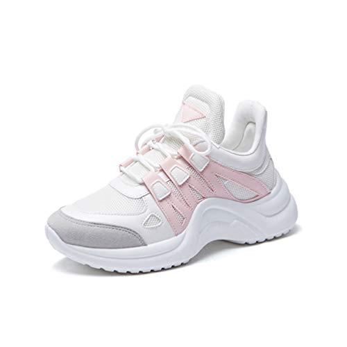 LFEU Femme Chaussure pour Course Jogging Running Marche de Pied Sneaker en Textile Respirant Chaussure de Sport Antidérapant Résistant à l'usure Rose 36