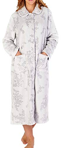 Slenderella Damen dick grau weiche Flanell Fleece Kragen Knopf Oben Bademantel Morgenmantel Haus Mantel groß 42 44