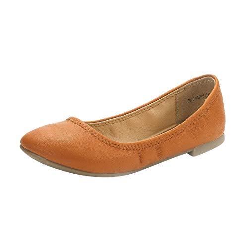 DREAM PAIRS Women's Sole-Happy Tan Ballerina Walking Flats Shoes - 10 M US