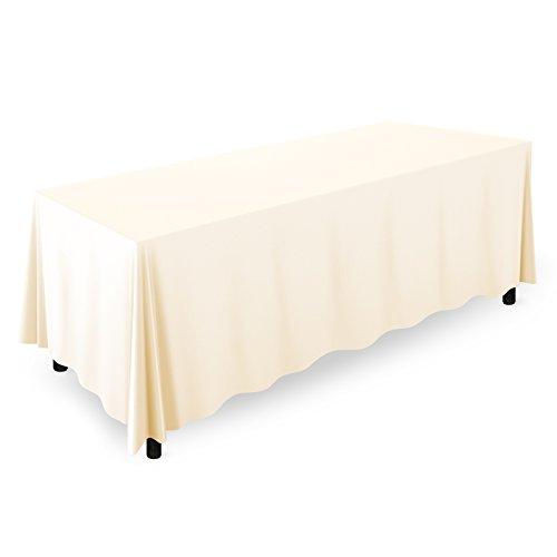 Mill & Thread - 10 Premium 90' x 132' Tablecloths for Wedding/Banquet/Restaurant - Rectangular Polyester Fabric Table Cloths - Ivory