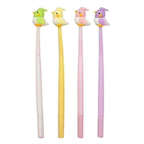 4 bolígrafos de gel de loro creativo, rellenables, de 0,5 mm, recargas de regalos para fiestas, recompensa de clase para la firma de la escuela, para escribir a niñas y adultos